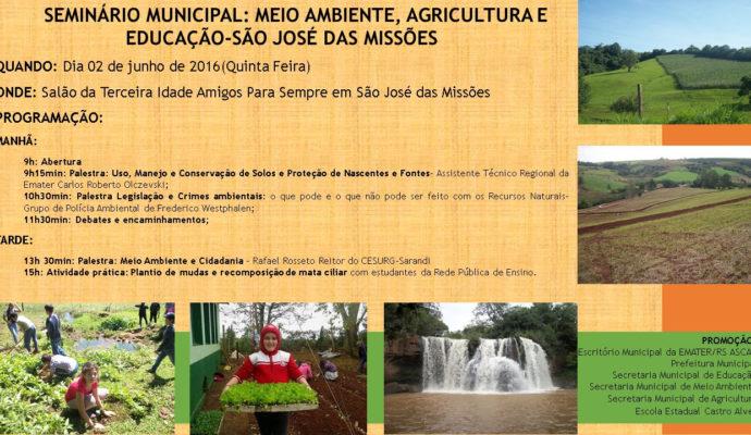 SEMINÁRIO MUNICIPAL: MEIO AMBIENTE, AGRICULTURA E EDUCAÇÃO – SÃO JOSÉ DAS MISSÕES