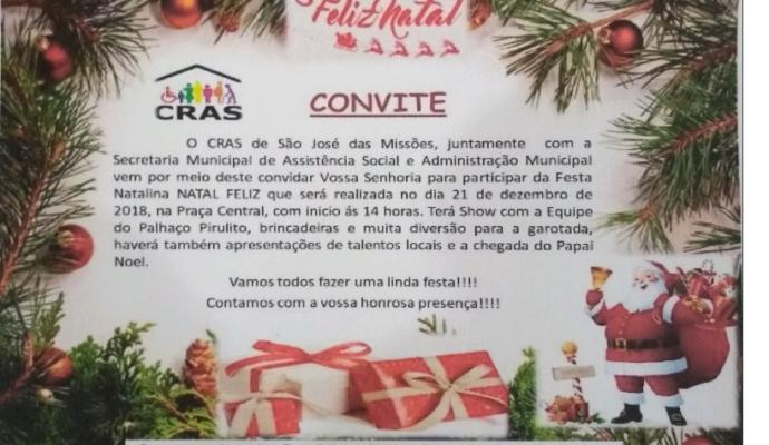 Convite: Festa Natalina – Natal Feliz 2018.