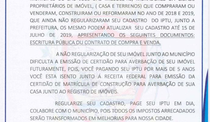 Aviso: Secretaria Municipal da Fazenda.