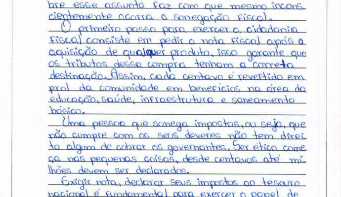 Divulgação dos ganhadores do Concurso de Redação sobre Nota Fiscal Gaúcha da Escola Estadual Castro Alves.