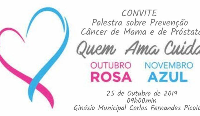 Convite para Palestra sobre Prevenção de Câncer de Mama e de Próstata.