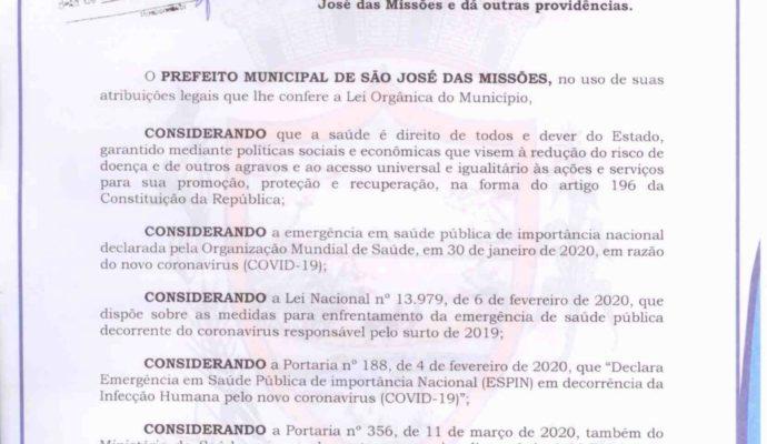 AVISO: Estado de Calamidade Pública – Decreto Municipal nº 012/2020.