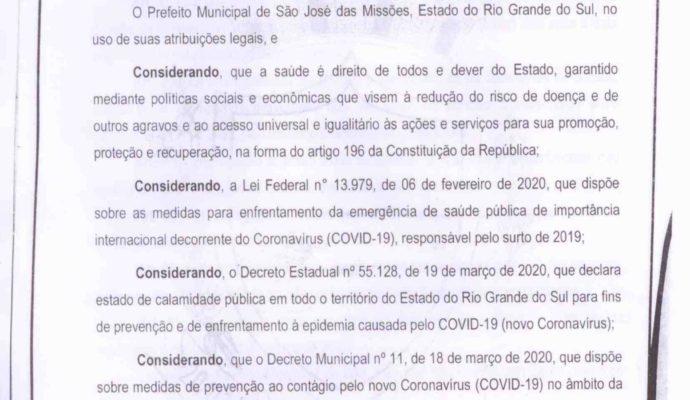 AVISO: Decreto Municipal nº 014/2020.