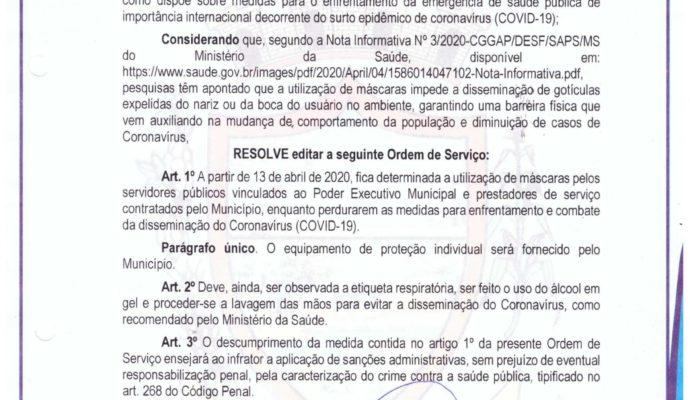 AVISO: Ordem de Serviço nº 001/2020.