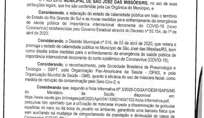 AVISO: Decreto Municipal nº 022/2020 – Uso de Máscaras.
