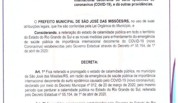 Aviso: Decreto Municipal nº 016/2020.