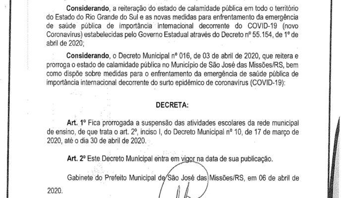 AVISO: Decreto Municipal nº 017/2020.