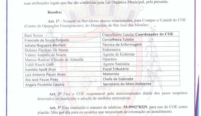 Aviso: Portaria nº 114/2020 – COE (Centro de Operações Emergenciais).