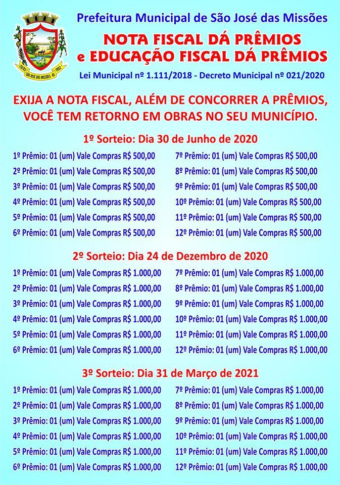 """Participe dos Programas """"Nota Fiscal dá Prêmios"""" e """"Educação Fiscal dá Prêmios""""!"""