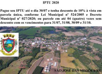 Pagamento IPTU Exercício 2020.