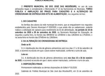 Alteração de Edital para cadastro de solicitação de kit de gêneros alimentícios para estudantes da rede pública municipal.