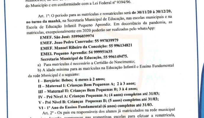 Sec. Mun. de Educação – Período de Matrículas e Rematrículas.