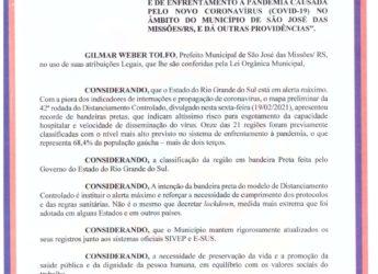 Decreto Municipal nº 011/2021 – Novas Medidas para fins de prevenção e enfrentamento ao Coronavírus.