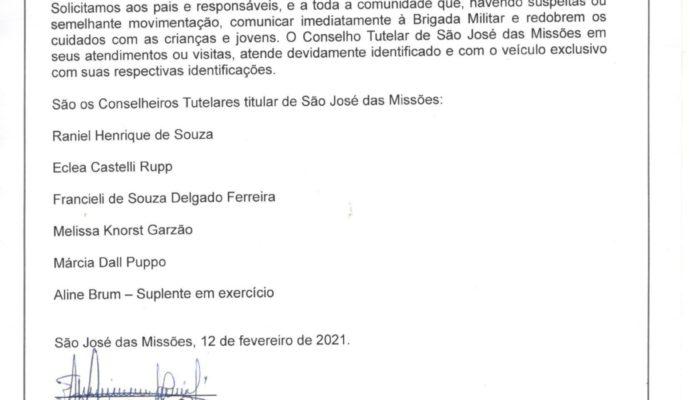 Comunicado Importante: Conselho Tutelar de São José das Missões/RS.