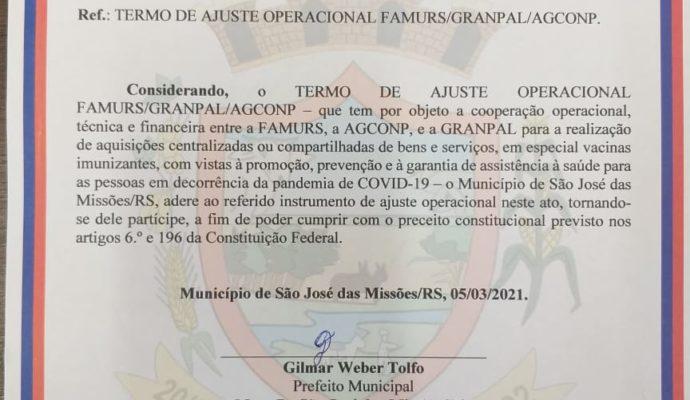 Assinatura do Termo de Ajuste Operacional junto a Famurs/Granpal/AGCONP visando a aquisição de vacinas.