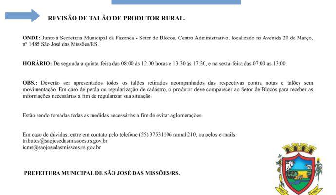 Atenção Produtor Rural!