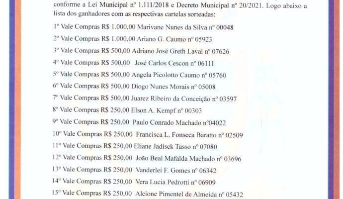 RELAÇÃO DE GANHADORES DO PRIMEIRO SORTEIO DO BOLÃO DO ICMS 2021 DE SÃO JOSÉ DAS MISSÕES/ RS.