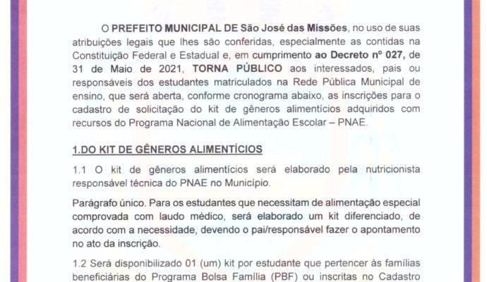 """Edital nº 002/2021 – """"Chamada para cadastro de solicitação de kit de gêneros alimentícios para estudantes matriculados na Rede Pública Municipal""""."""