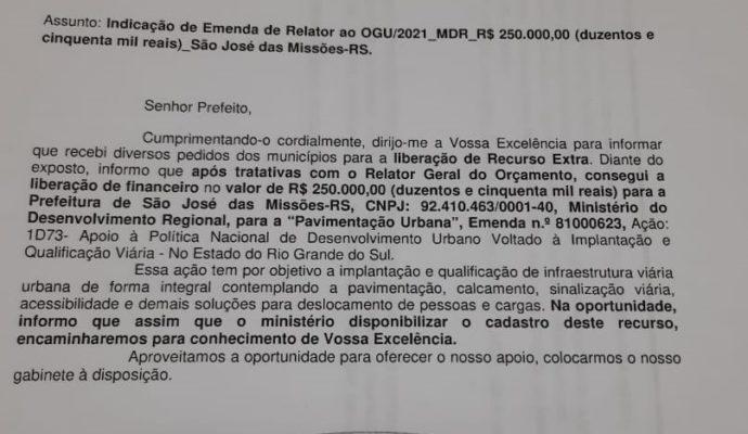 Indicação de Emenda Parlamentar ao Município de São José das Missões/RS
